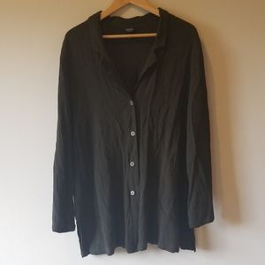Eileen Fisher army green crepe tunic button up 1X